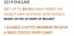 GET UP TO $9,100 CASH CREDIT ON SELECT NEW IN-STOCK 2019 MODELS BASED ON 15% OF MSRP OF $60,660