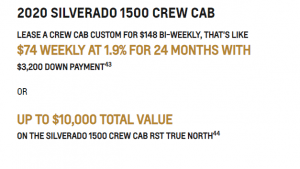LEASE A CREW CAB CUSTOM FOR $148 BI-WEEKLY, THAT'S LIKE $74 WEEKLY AT 1.9% FOR 24 MONTHS WITH $3,200 DOWN PAYMENT43 OR UP TO $10,000 TOTAL VALUE ON THE SILVERADO 1500 CREW CAB RST TRUE NORTH